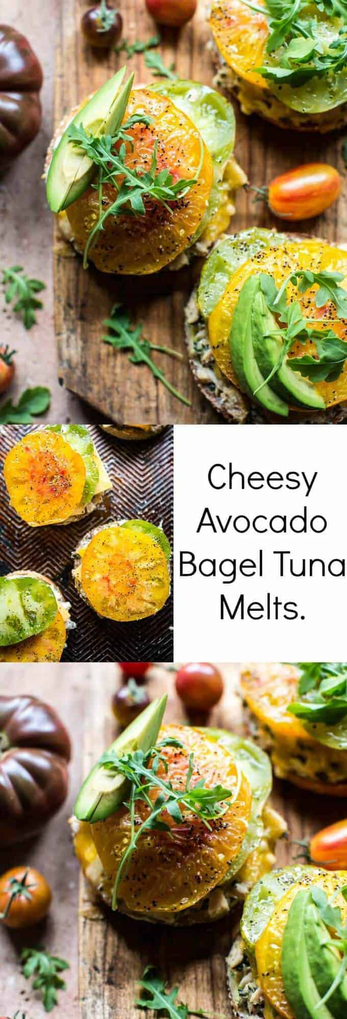Cheesy Avocado Bagel Tuna Melts | halfbakedharvest.com @hbharvest