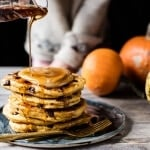 Chocolate Chip Pumpkin Pancakes with Whipped Maple Butter.