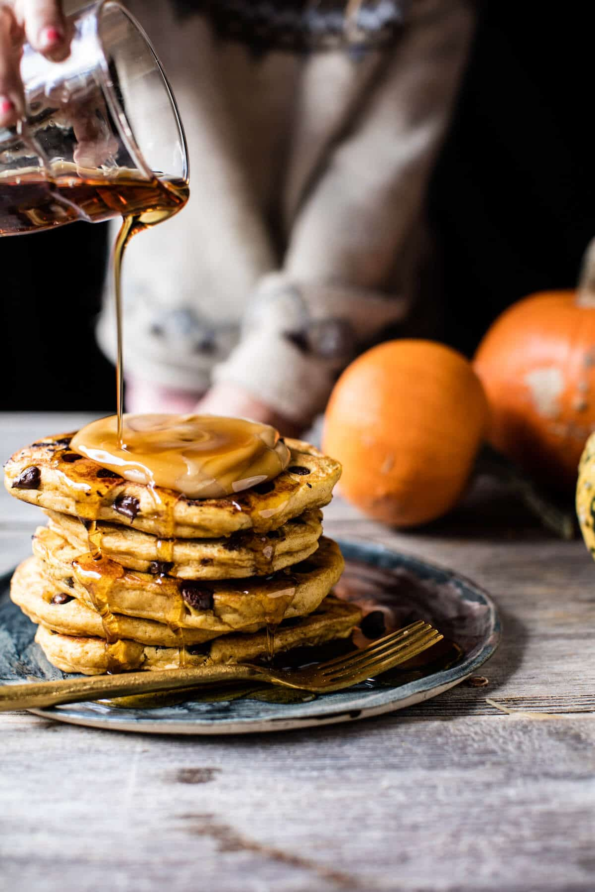 Chocolate Chip Pumpkin Pancakes with Whipped Maple Butter. - Half ...