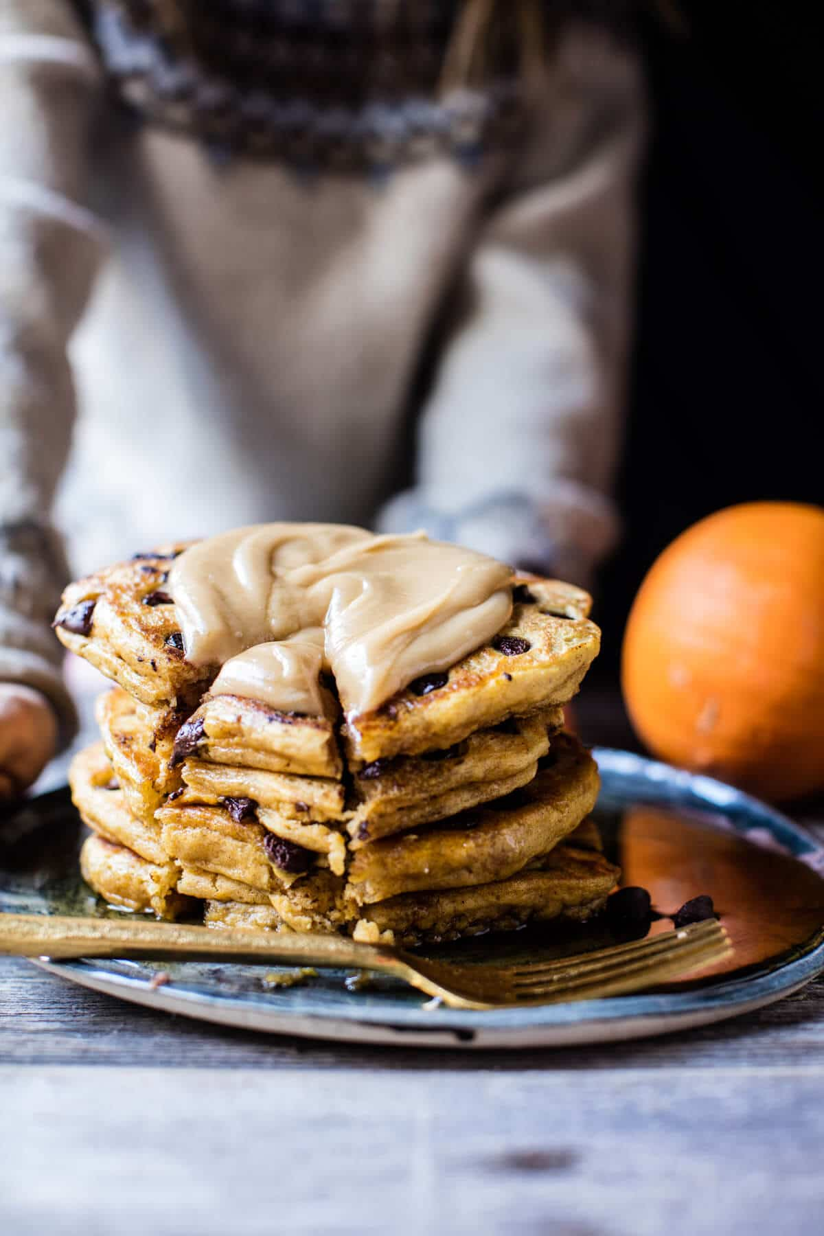 Chocolate Chip Pumpkin Pancakes with Whipped Maple Butter | halfbakedharvest.com @hbharvest