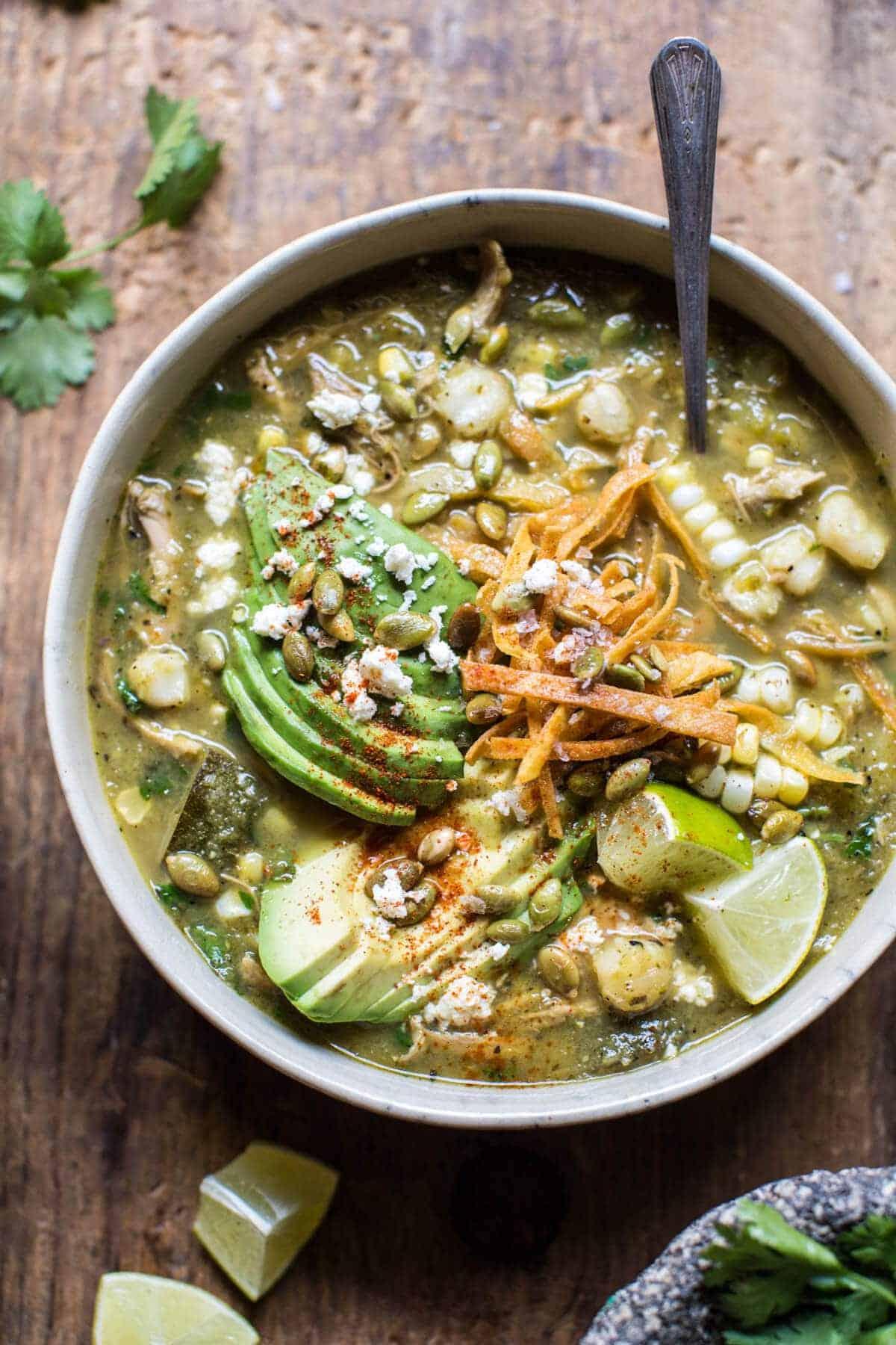 Crockpot Salsa Verde Chicken Pozole | halfbakedharvest.com @hbharvest