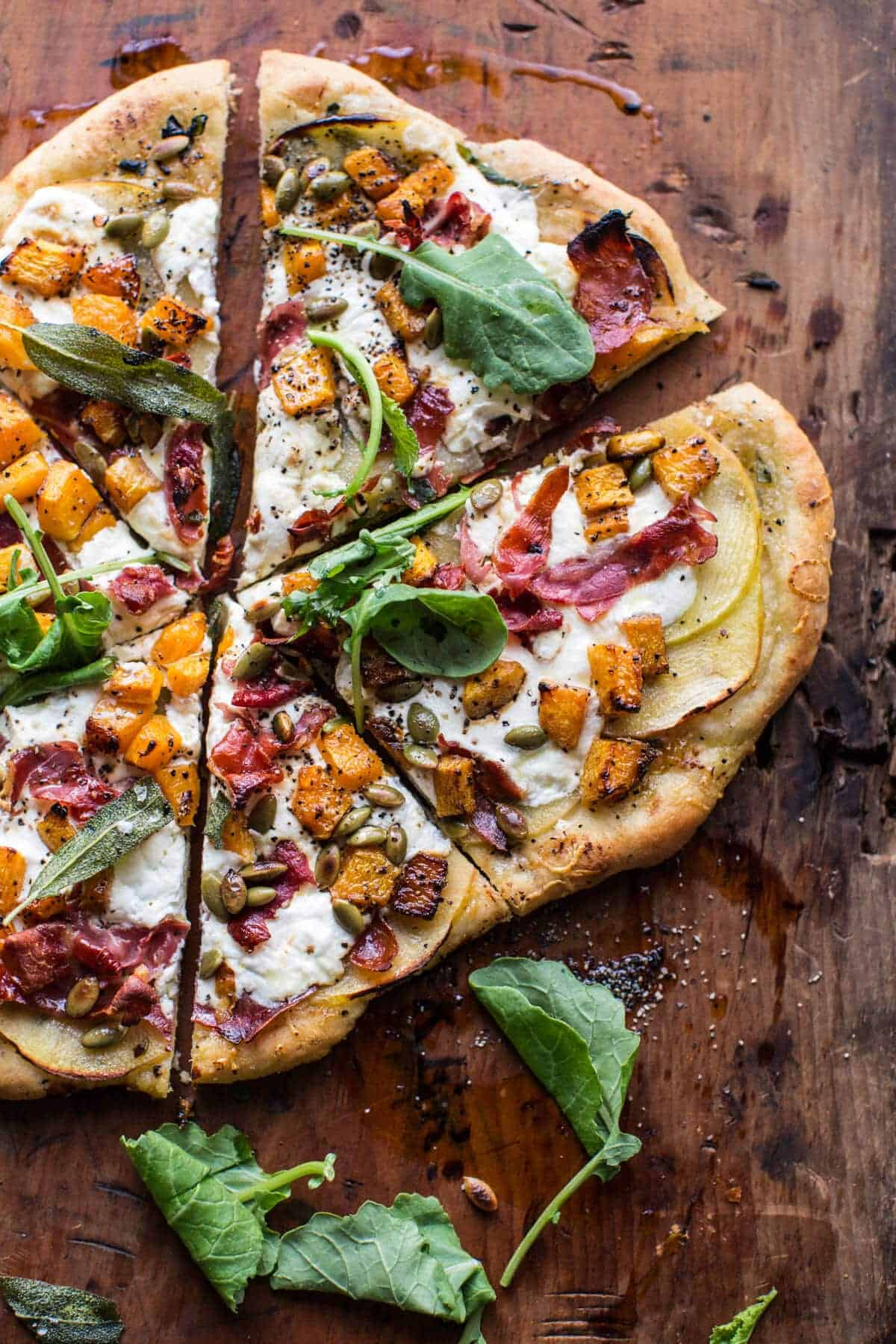 Roasted Butternut Squash Apple Burrata Pizza | halfbakedharvest.com @hbharvest