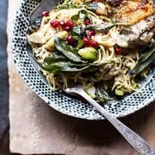 Sage Butter Lemon Roasted Chicken in Goat Milk With Brussels Sprout Pasta.