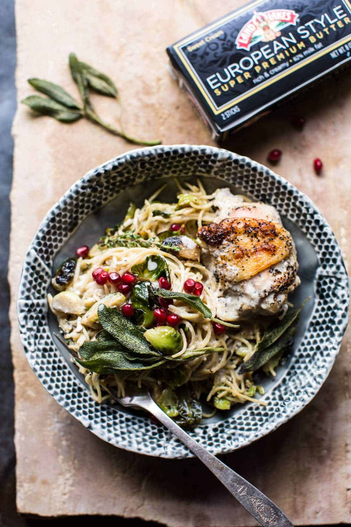 Sage Butter Lemon Roasted Chicken in Goat Milk With Brussels Sprout Pasta | halfbakedharvest.com @hbharvest