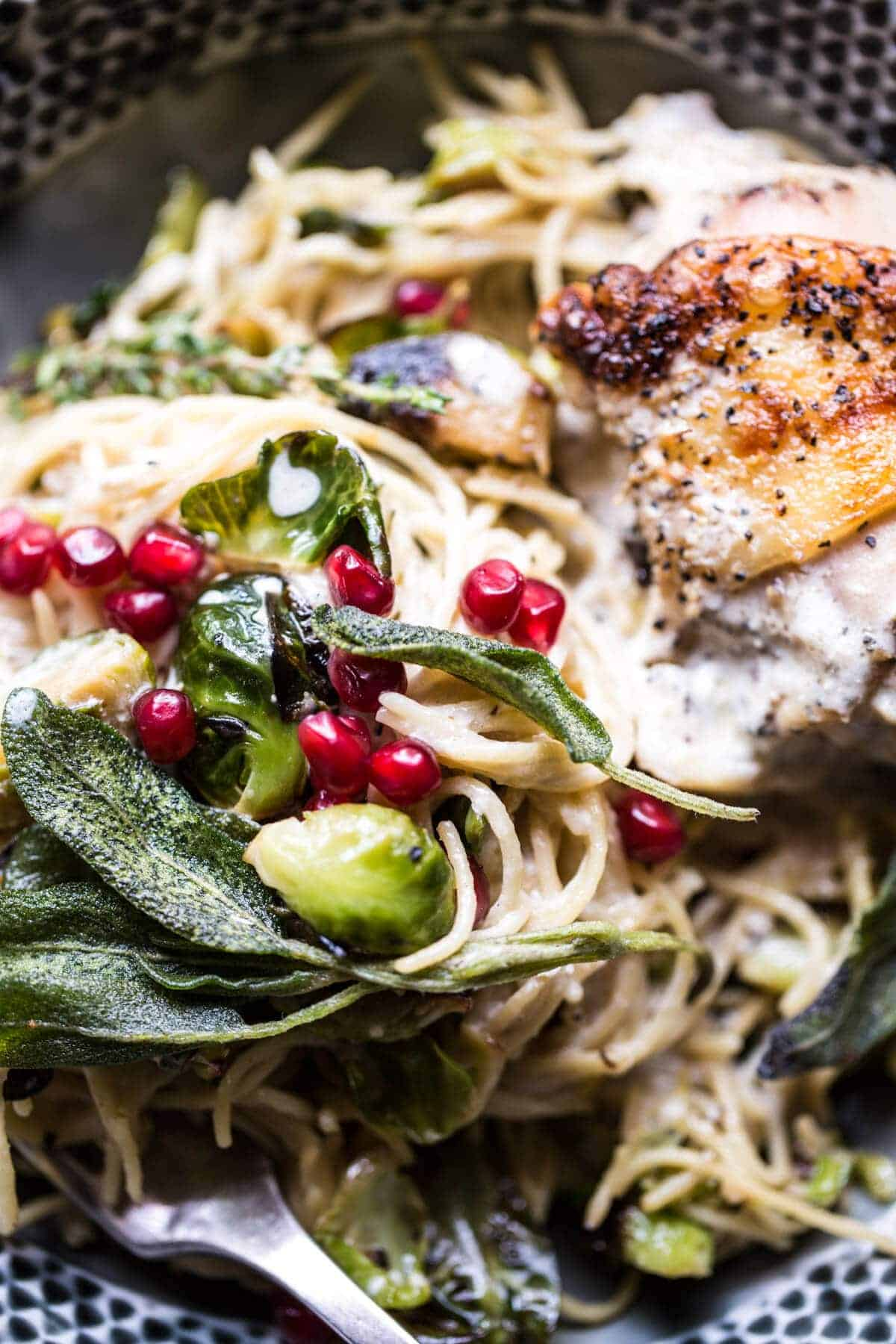 Butter Lemon Roasted Chicken in Goat Milk With Brussels Sprout Pasta ...