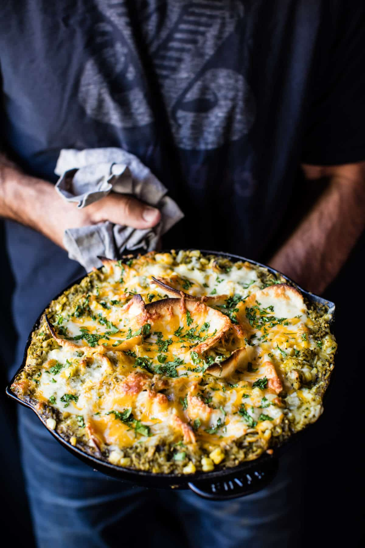 Skillet Salsa Verde Chicken Tortilla Rice Bake | halfbakedharvest.com @hbharvest