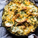 Skillet Salsa Verde Chicken Tortilla Rice Bake.