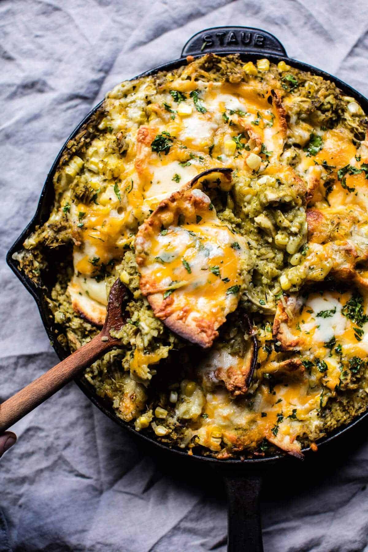 Skillet Salsa Verde Chicken Tortilla Rice Bake. - Half Baked Harvest
