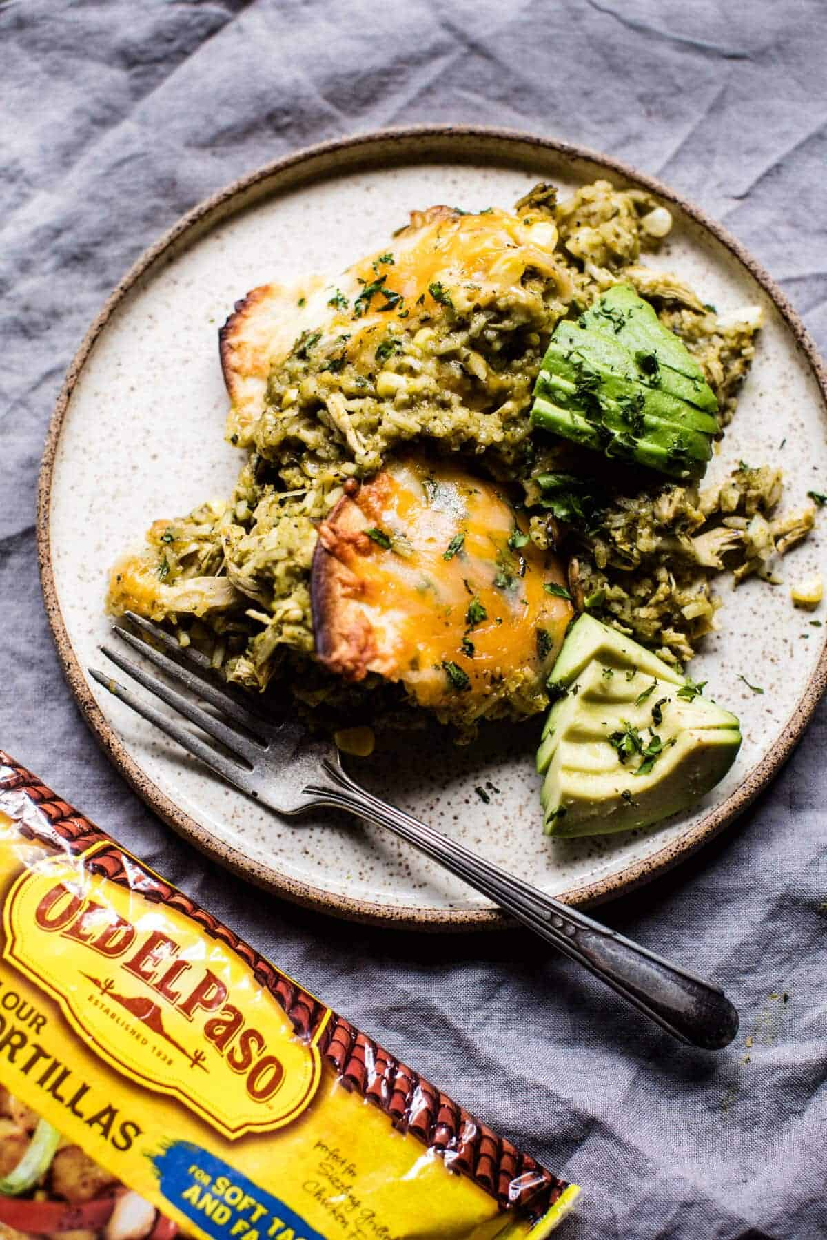 Skillet Salsa Verde Chicken Tortilla Rice Bake | halfbakedharvest.com ...