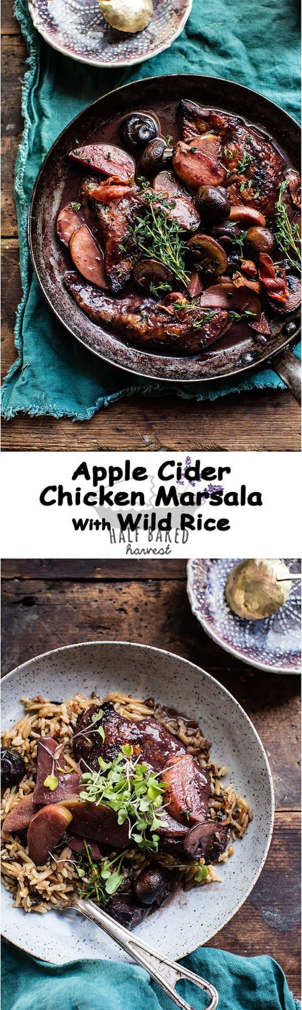 Apple Cider Chicken Marsala with Wild Rice Pilaf | halfbakedharvest.com @hbharvest