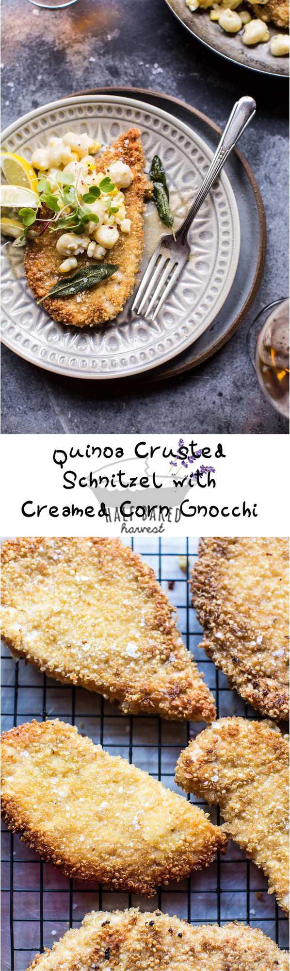 Quinoa Crusted Schnitzel with Creamed Corn Gnocchi | halfbakedharvest.com @hbharvest