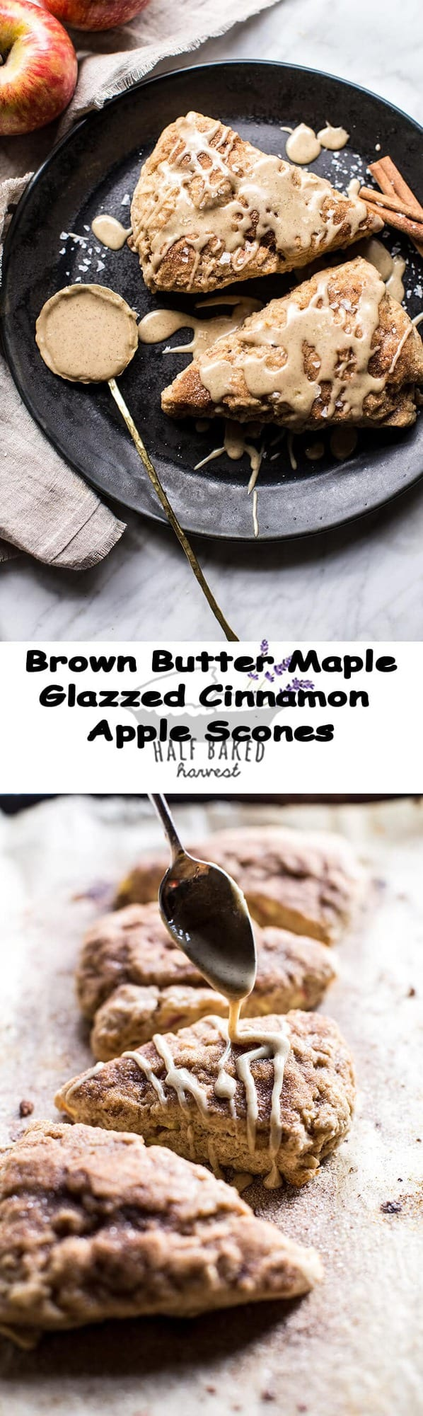 Brown Butter Maple Glazed Cinnamon Apple Scones | halfbakedharvest.com @hbharvest