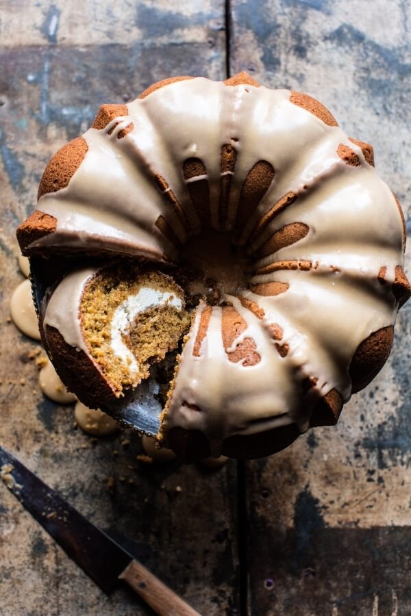 Cream Cheese Swirled Brown Sugar Pumpkin Coffee Cake.