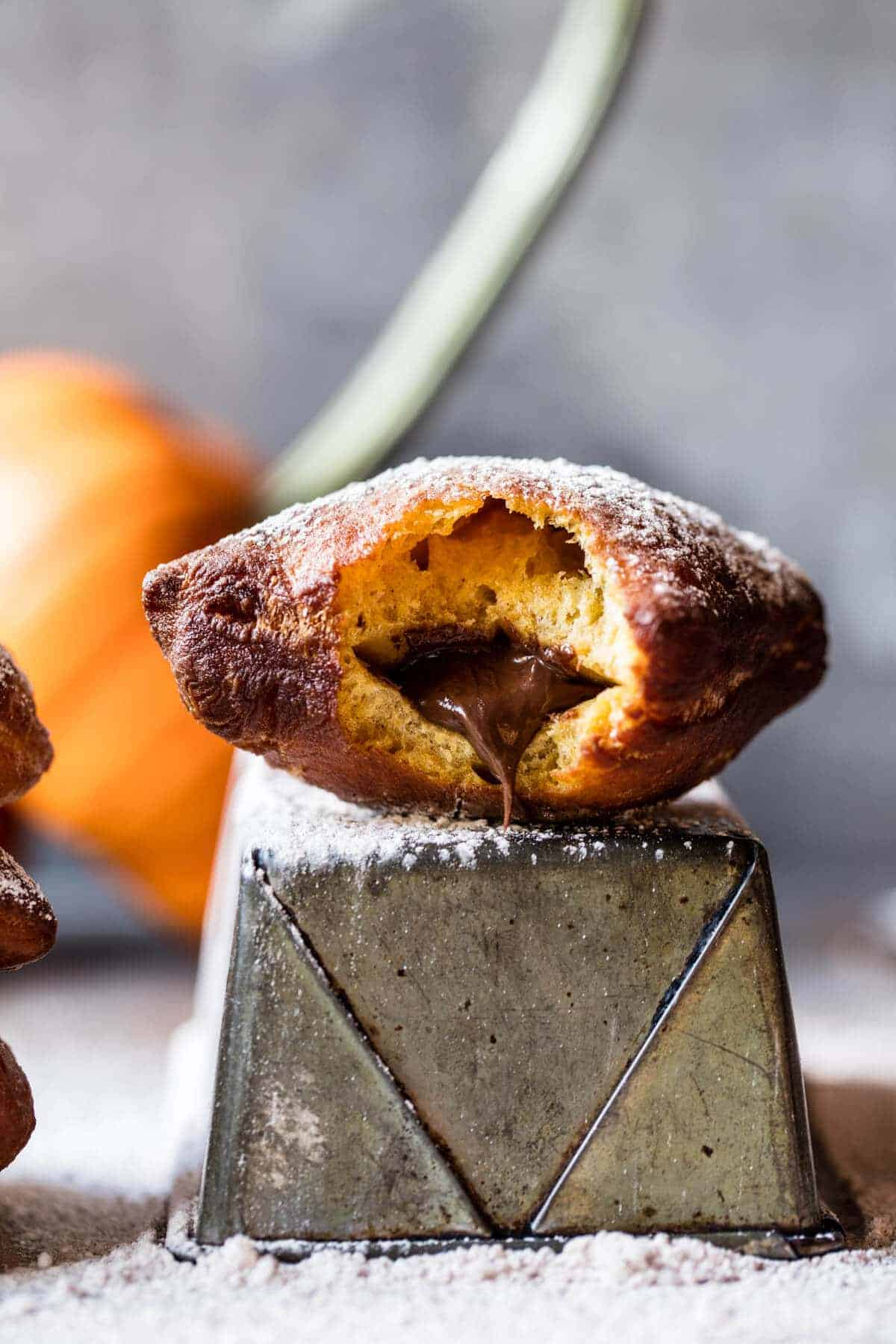 Nutella Stuffed Pumpkin Beignets.