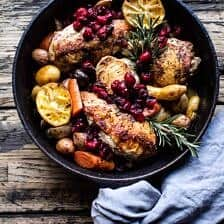 Skillet Cranberry Roasted Chicken and Potatoes.