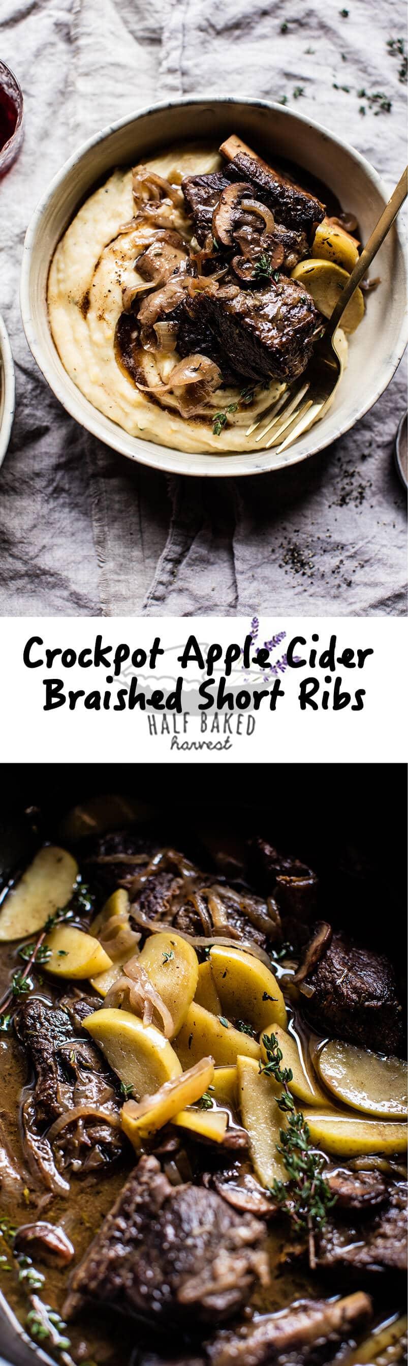 Crockpot Cider Braised Short Ribs with Sage Butter Mashed Potatoes | halfbakedharvest.com @hbharvest