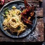 Brussels Sprout Carbonara with Pomegranate Roasted Winter Squash.
