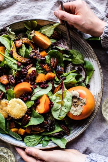 Cranberry Roasted Butternut Persimmon Salad.