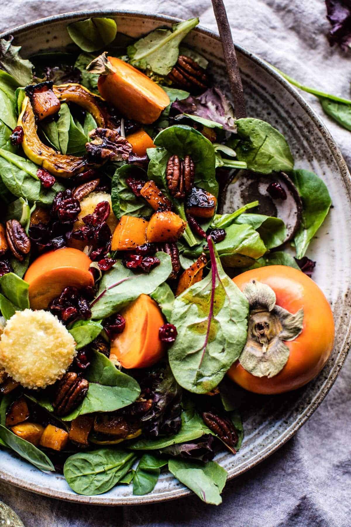 Cranberry Roasted Butternut Persimmon Salad | halfbakedharvest.com @hbharvest