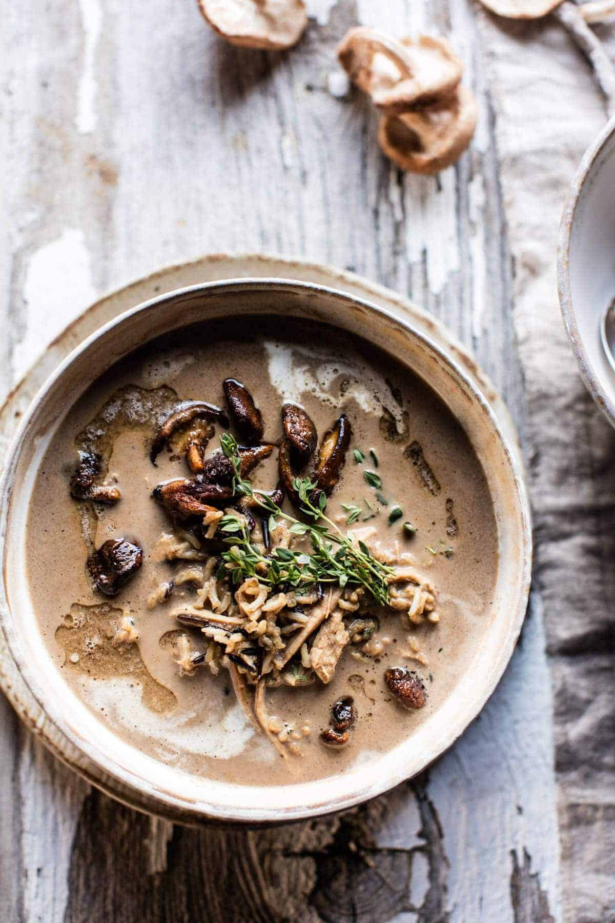 Cream of Mushroom Chicken Wild Rice Soup.
