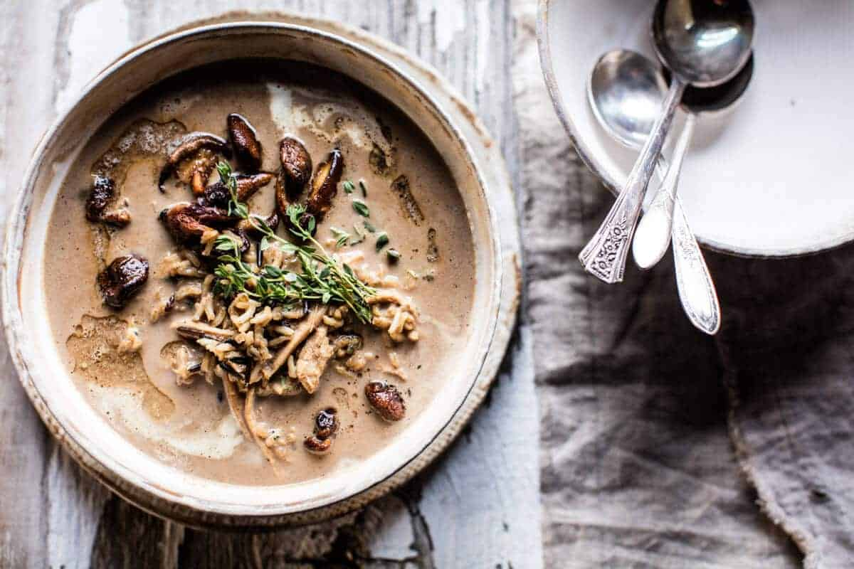 Cream of Mushroom Chicken Wild Rice Soup | halfbakedharvest.com @hbharvest
