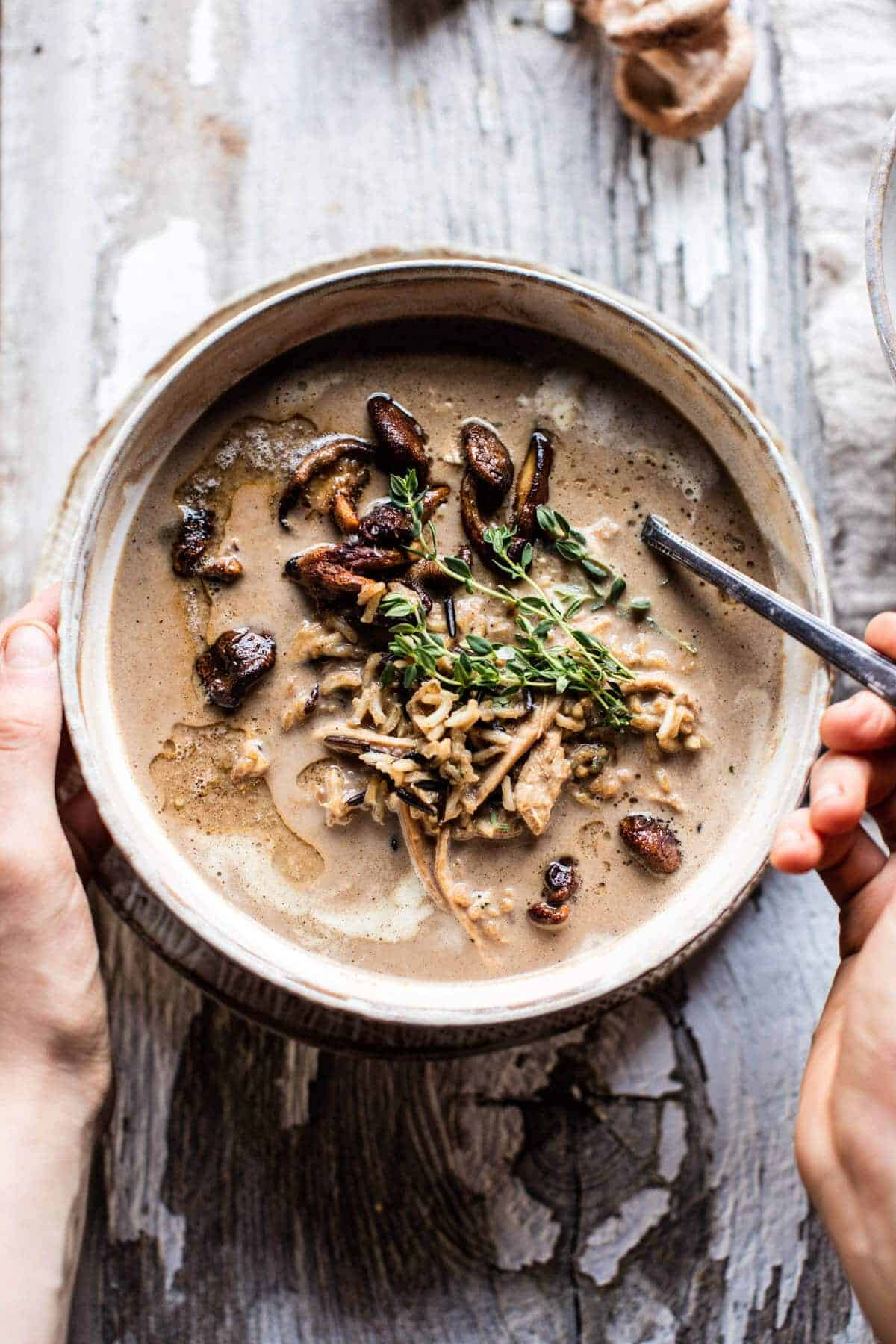 Cream of Mushroom Chicken Wild Rice Soup | halfbakedharvest...