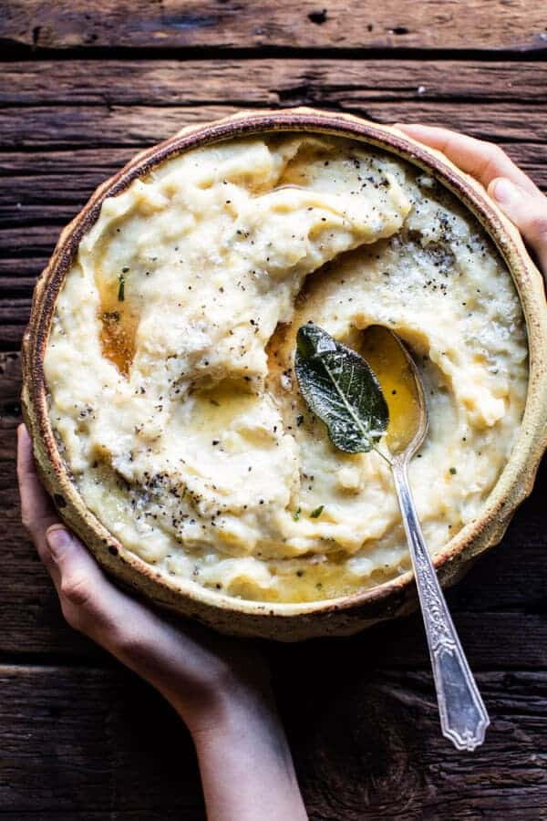 Crockpot Three Cheese Mashed Potatoes | halfbakedharvest.com @hbharvest