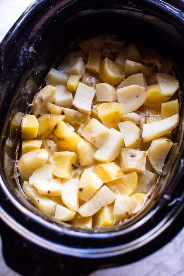 Crockpot Three Cheese Mashed Potatoes   halfbakedharvest.com @hbharvest