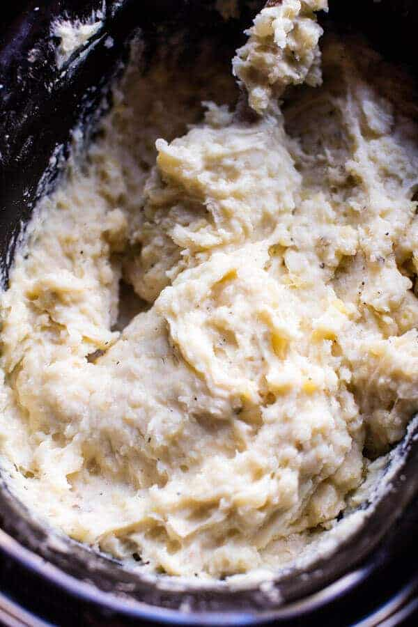 Crockpot Three Cheese Mashed Potatoes | halfbakedharvest.com @hbharvest