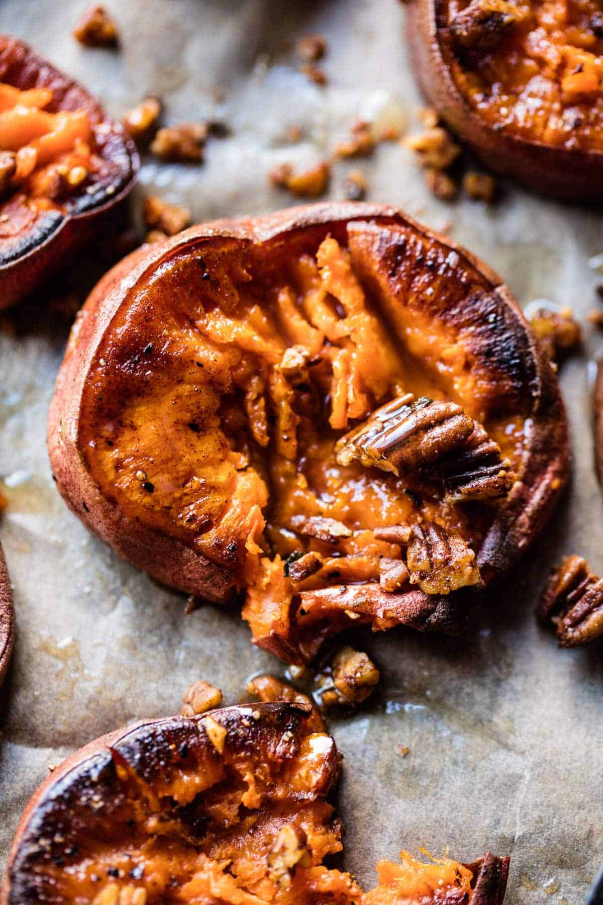 Crispy Roasted Sweet Potatoes with Bourbon Maple Butter. - Half Baked ...