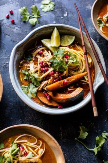 Thai Pomegranate Chicken Khao Soi Noodle Soup.
