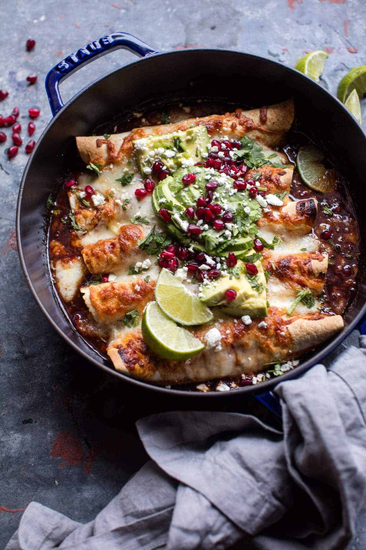 Cheesy Sweet and Sour Pomegranate Thai Chicken Enchiladas | halfbakedharvest.com @hbharvest