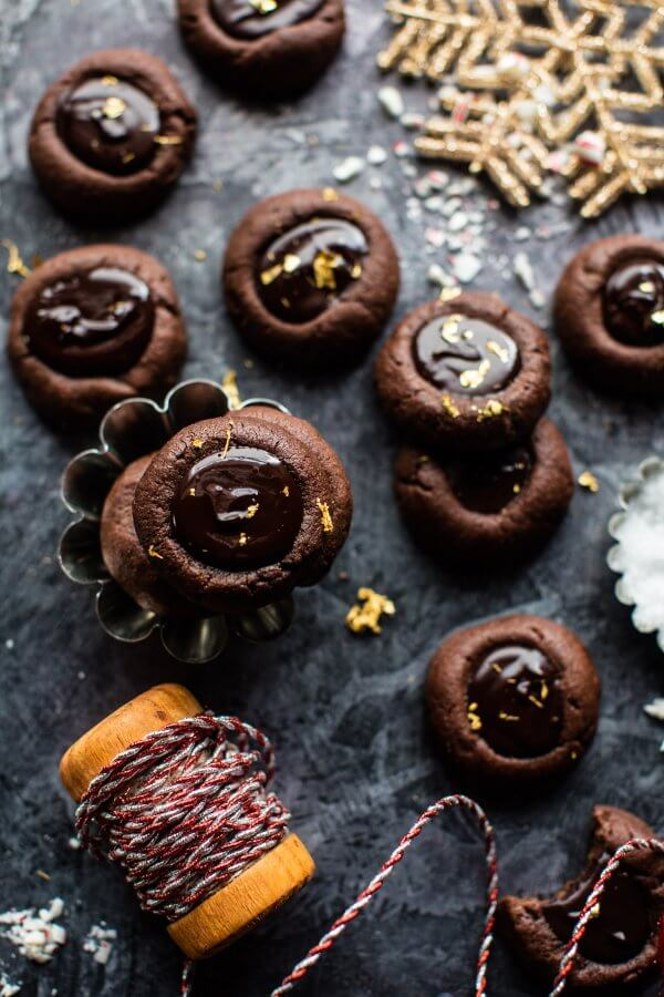 Chocolate Espresso Thumbprint Cookies.