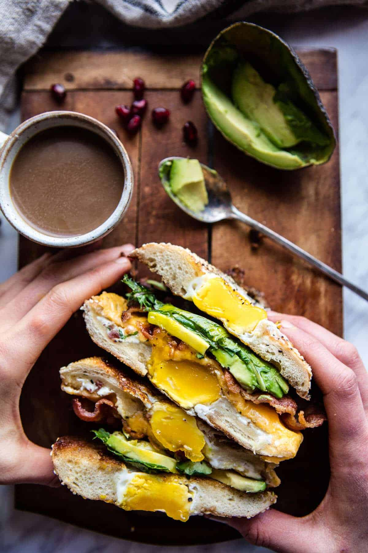 Egg in a Hole Avocado, Bacon, Egg and Cheese Bagel | halfbakedharvest.com @hbharvest