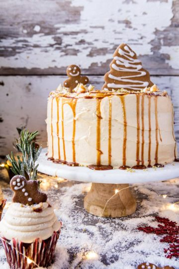 Gingerbread Cake with Caramel Cream Cheese Buttercream.