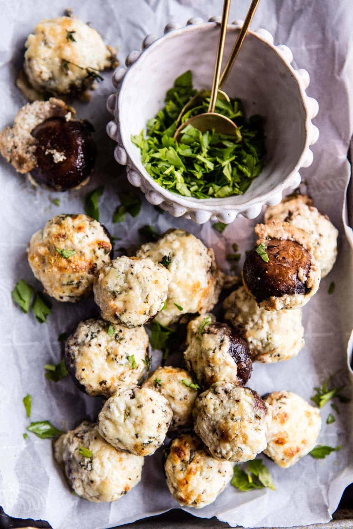 Herbed Goat Cheese Stuffed Mushrooms | halfbakedharvest.com @hbharvest.com