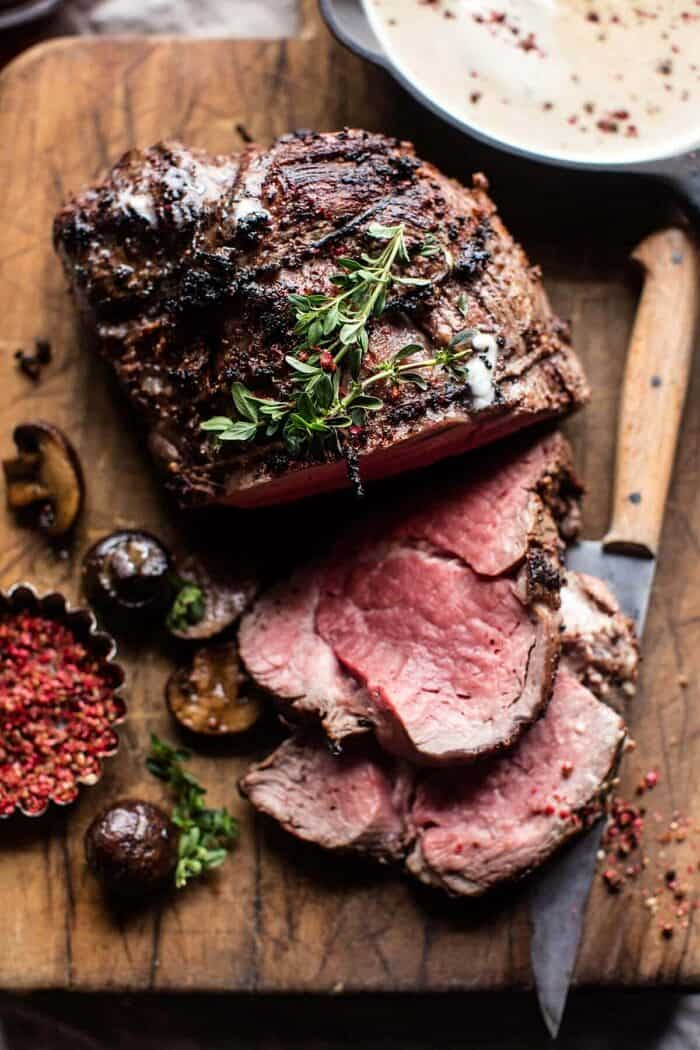 Roasted Beef Tenderloin with Mushrooms and White Wine Cream Sauce | halfbakedharvest.com