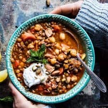 Crockpot Moroccan Lentil and Chickpea Soup.