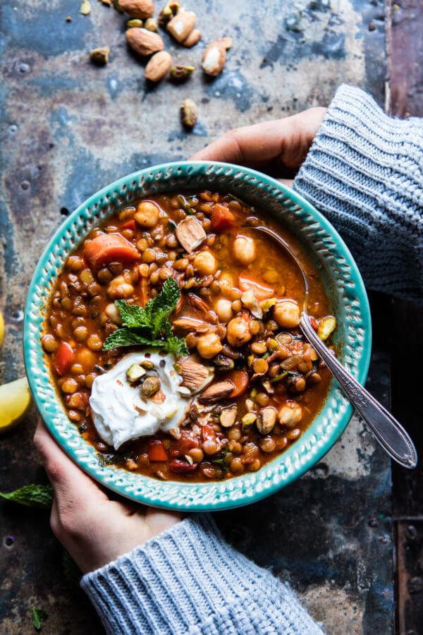 Crockpot Moroccan Lentil and Chickpea Soup | halfbakedharvest.com @hbharvest