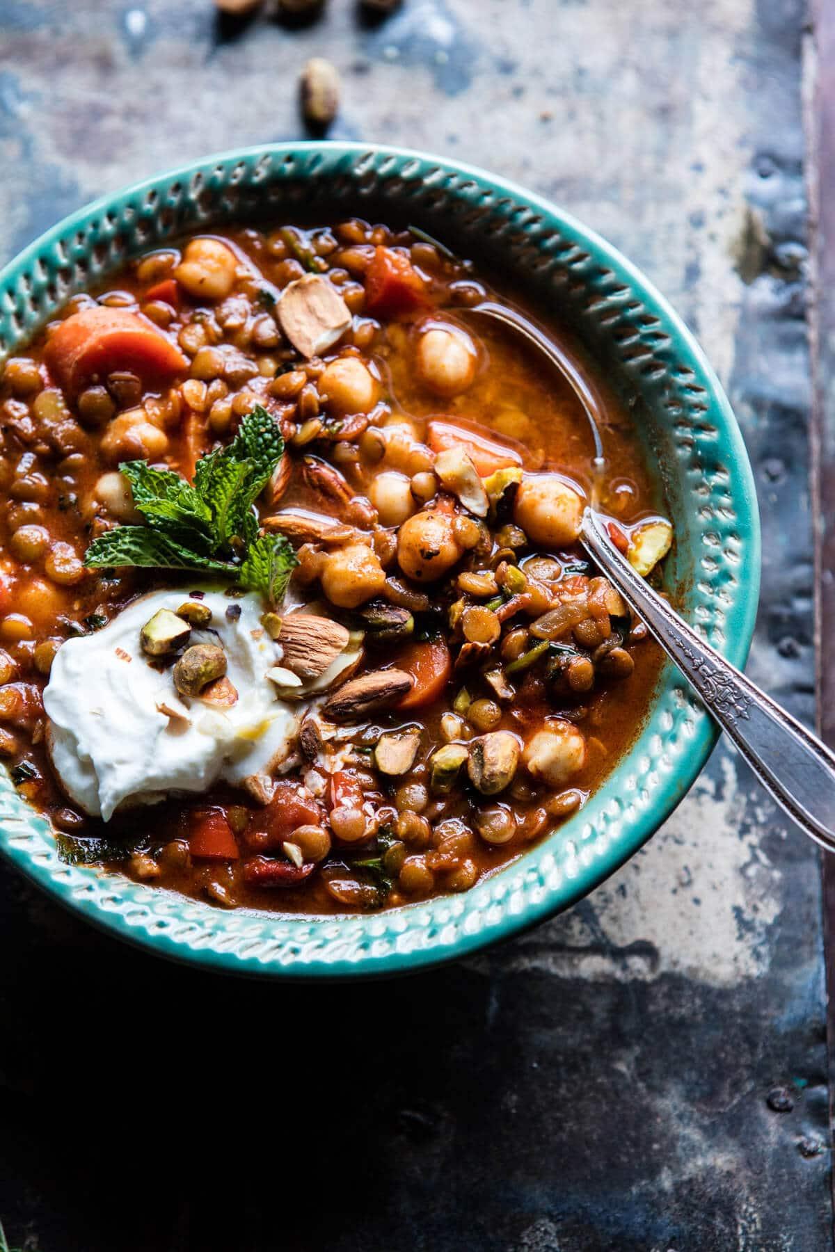 Crockpot Moroccan Lentil and Chickpea Soup | halfbakedharvest.com @ ...