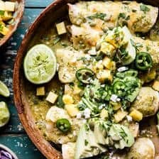 Lightened Up Salsa Verde Chicken Enchiladas with Pineapple Avocado Salsa + Video