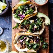 Poblano Mushroom Tacos with Cilantro Yogurt Sauce + Video.