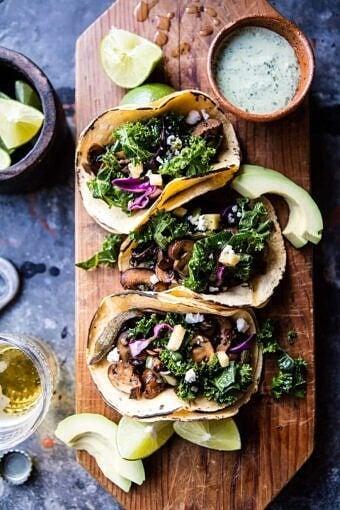 Poblano Mushroom Tacos with Cilantro Yogurt Sauce | halfbakedharvest.com @hbharvest