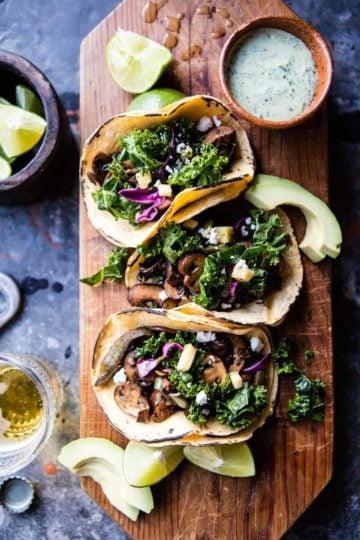 Poblano Mushroom Tacos with Cilantro Yogurt Sauce + Video.