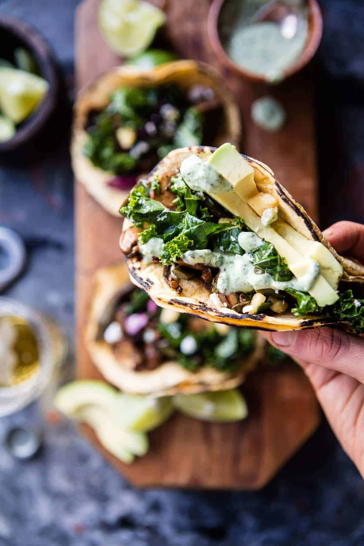 Poblano Mushroom Tacos with Cilantro Yogurt Sauce   halfbakedharvest.com @hbharvest
