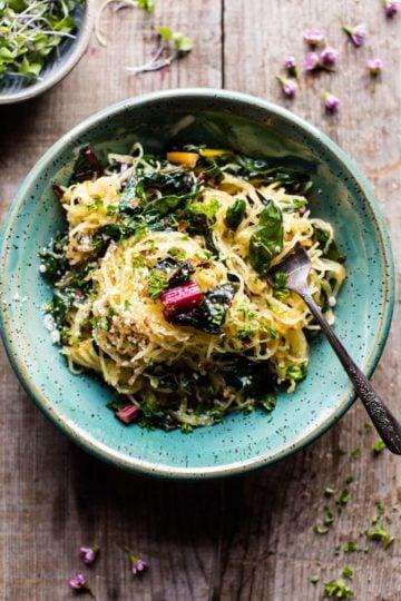 Spaghetti Squash Aglio E Olio with Rainbow Chard | halfbakedharvest.com @hbharvest