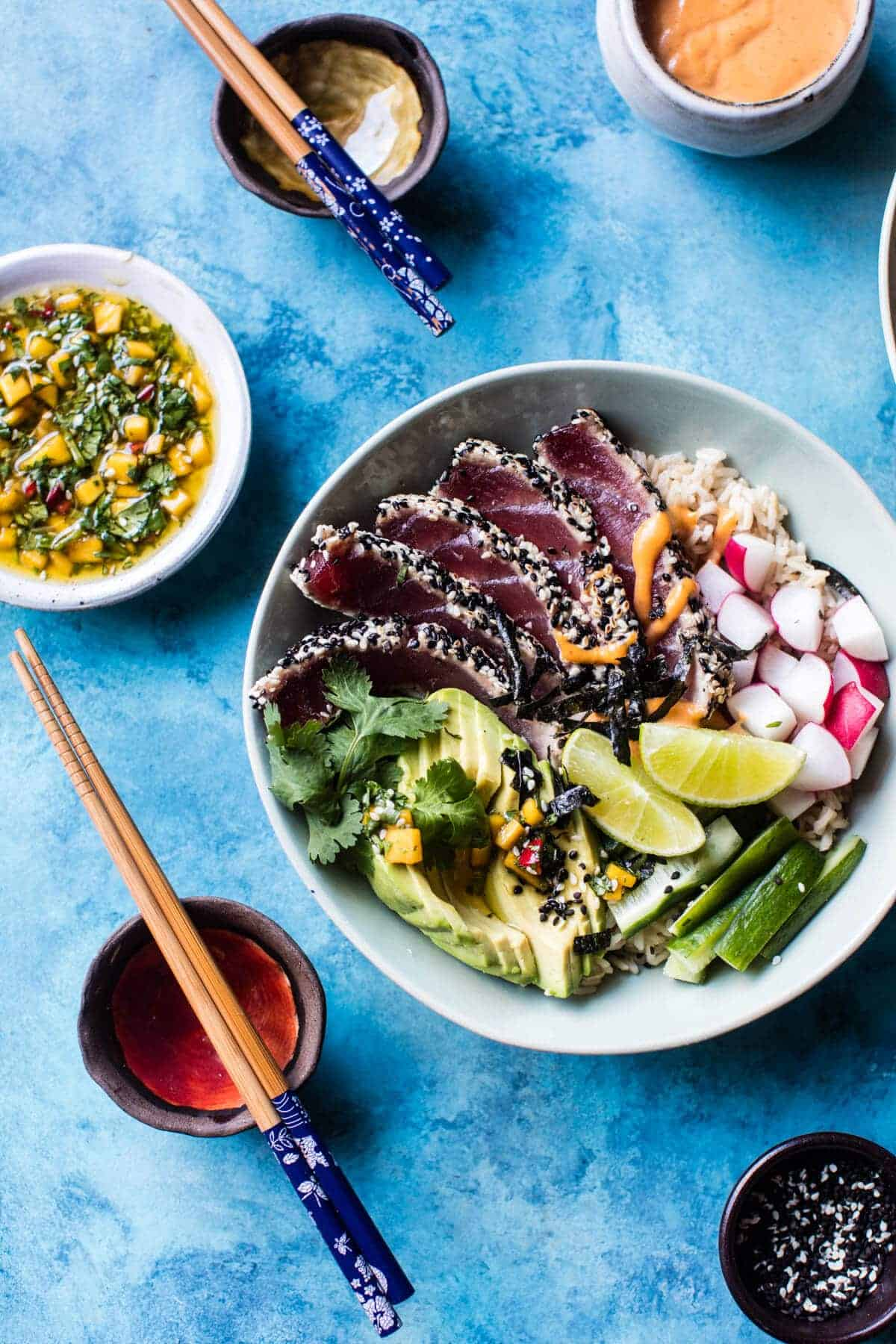 Spicy Brown Rice Seared Tuna Roll Bowl | halfbakedharvest.com @hbharvest