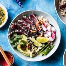 Spicy Brown Rice Seared Tuna Roll Bowl.