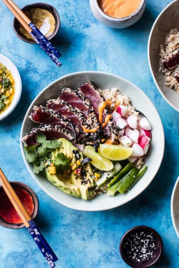 Spicy Brown Rice Seared Tuna Roll Bowl with Mango Chimichurri.