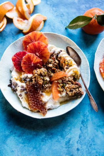 Winter Citrus Ricotta Breakfast Bowl with Honeycomb.